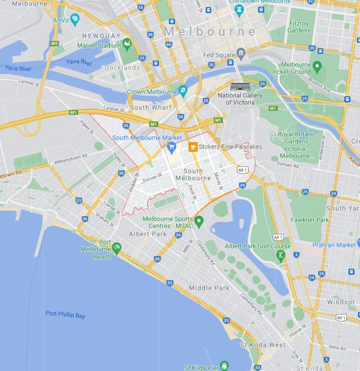 South Melbourne Map Area